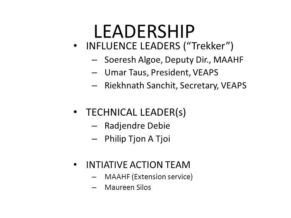 LEADERSHIP INFLUENCE LEADERS ( Trekker ) TECHNICAL LEADER(s)