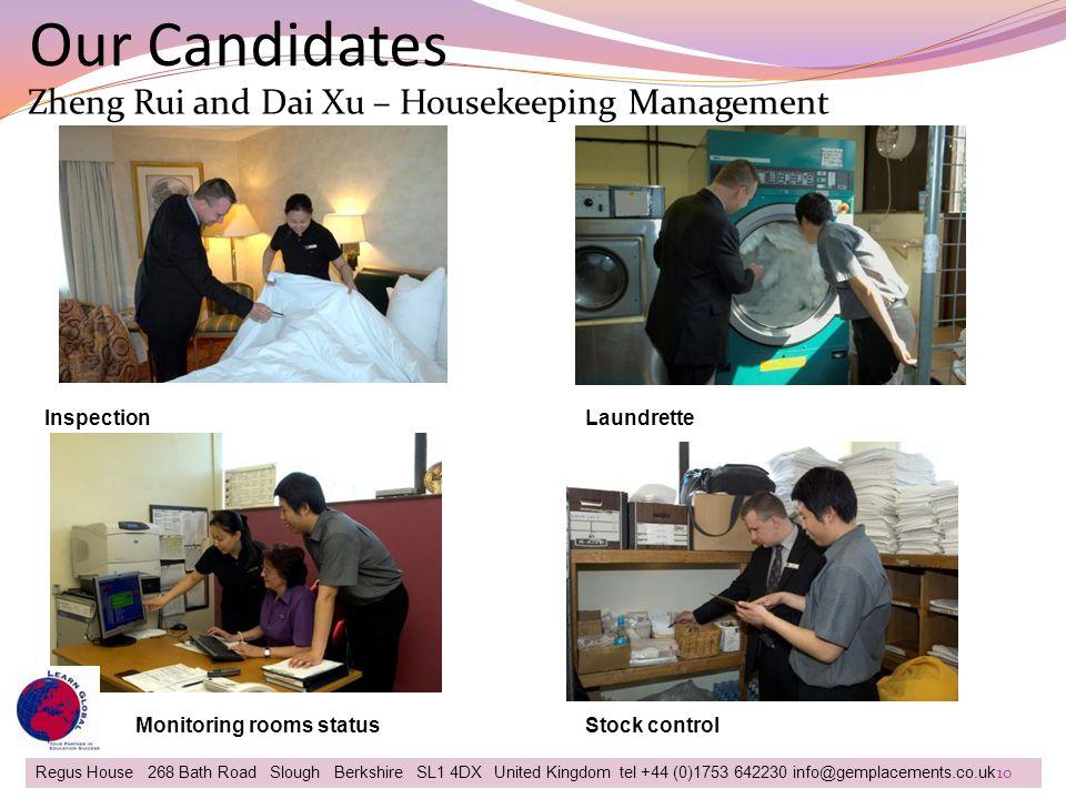 Our Candidates Zheng Rui and Dai Xu – Housekeeping Management