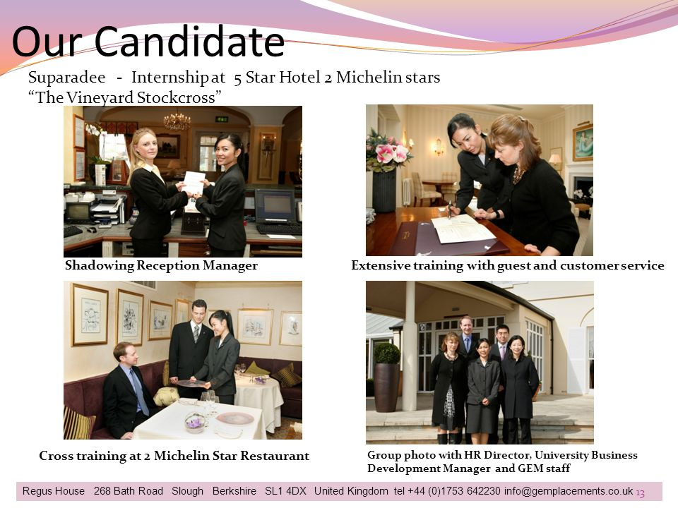 Our Candidate Suparadee - Internship at 5 Star Hotel 2 Michelin stars