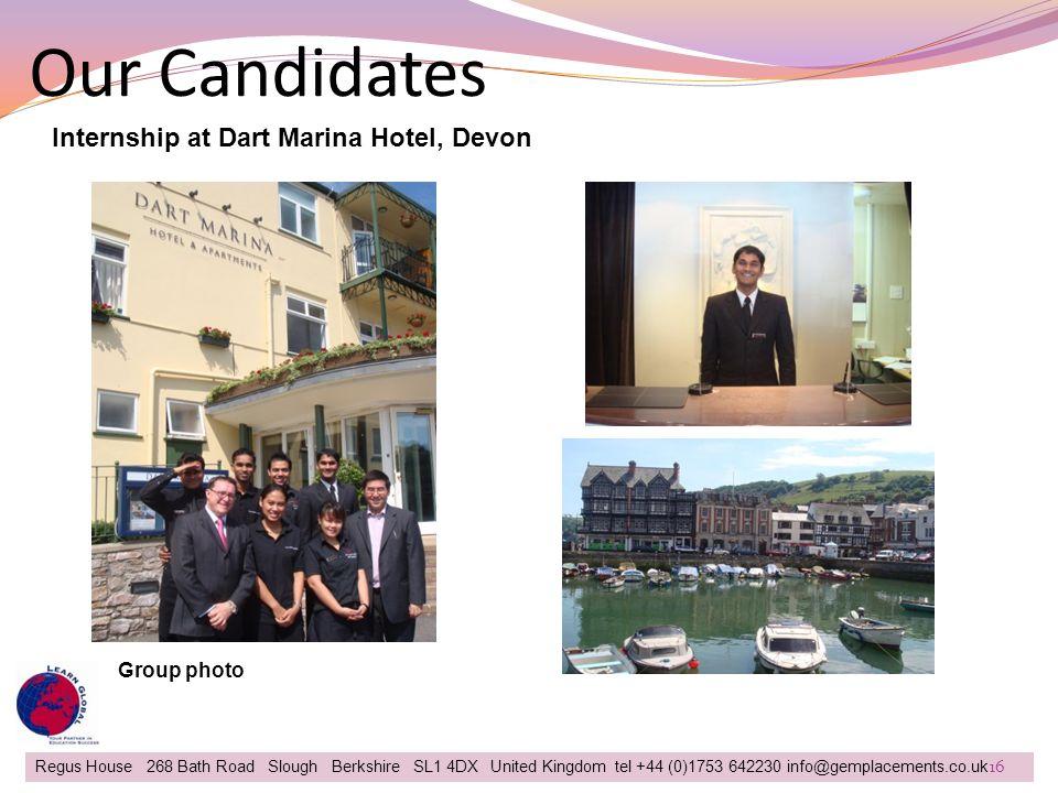 Our Candidates Internship at Dart Marina Hotel, Devon Group photo