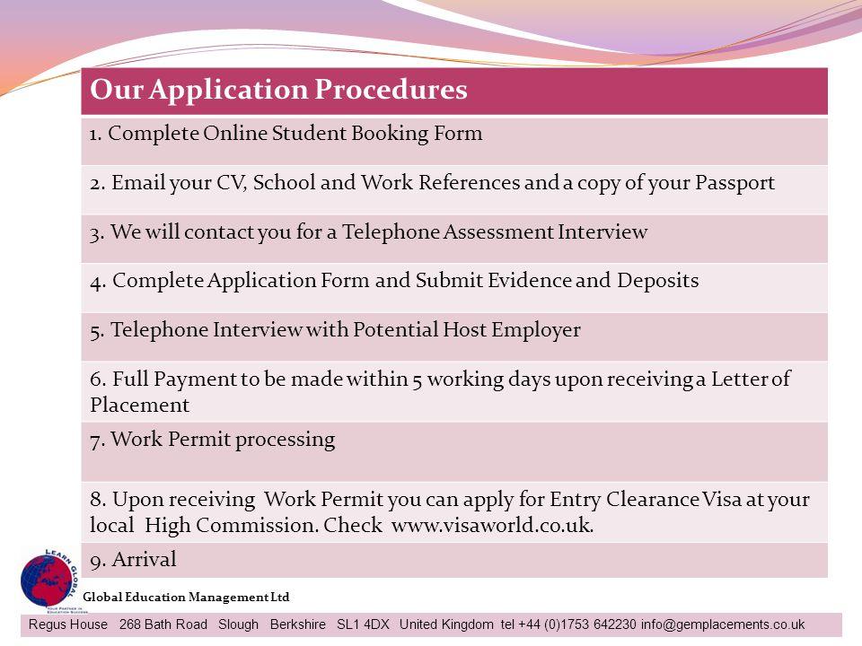 Our Application Procedures