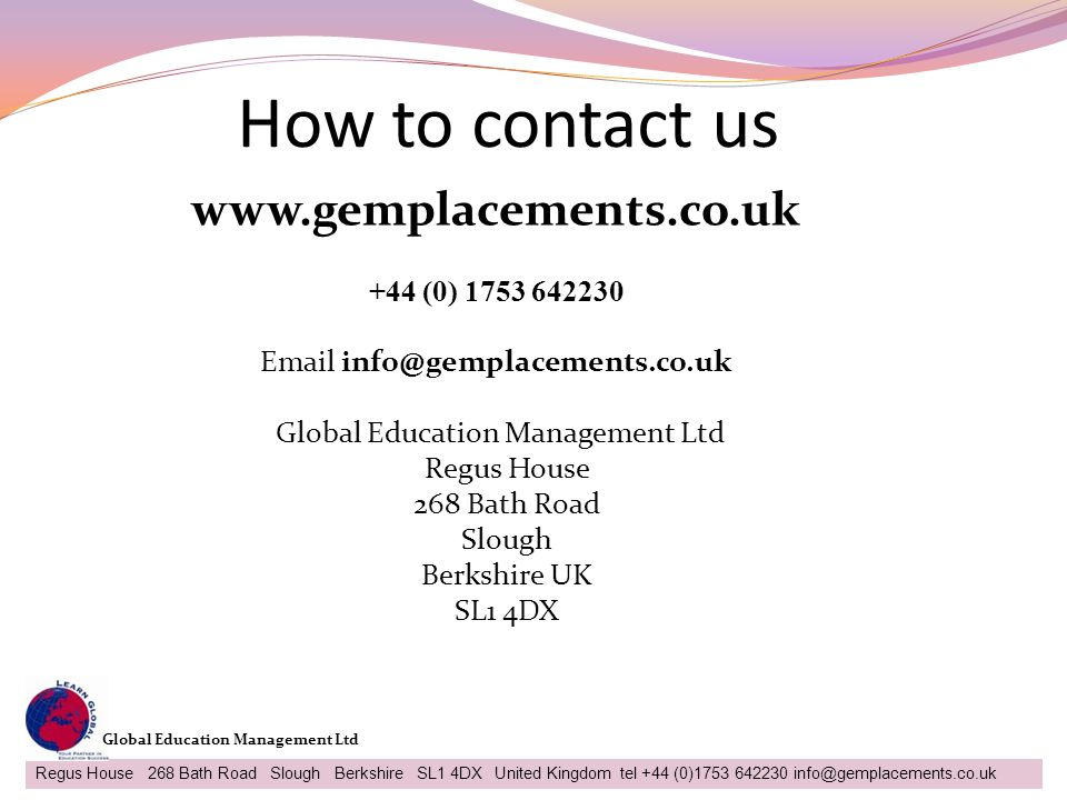 How to contact us www.gemplacements.co.uk +44 (0) 1753 642230