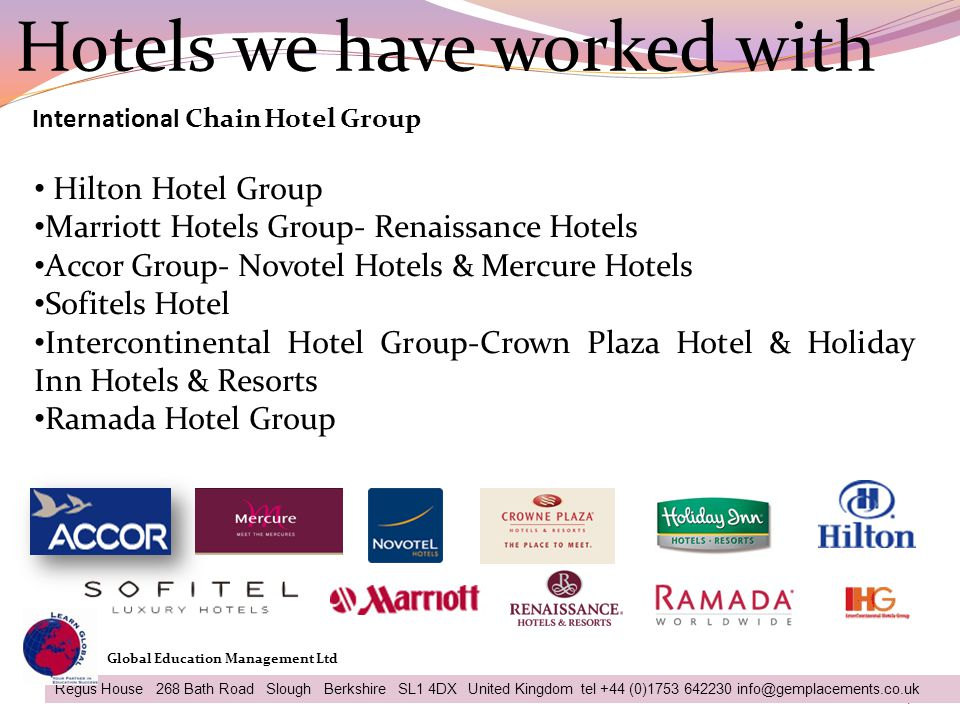 Hotels we have worked with