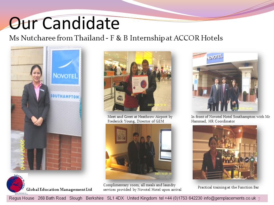 Our Candidate Ms Nutcharee from Thailand - F & B Internship at ACCOR Hotels. Meet and Greet at Heathrow Airport by Frederick Young, Director of GEM.