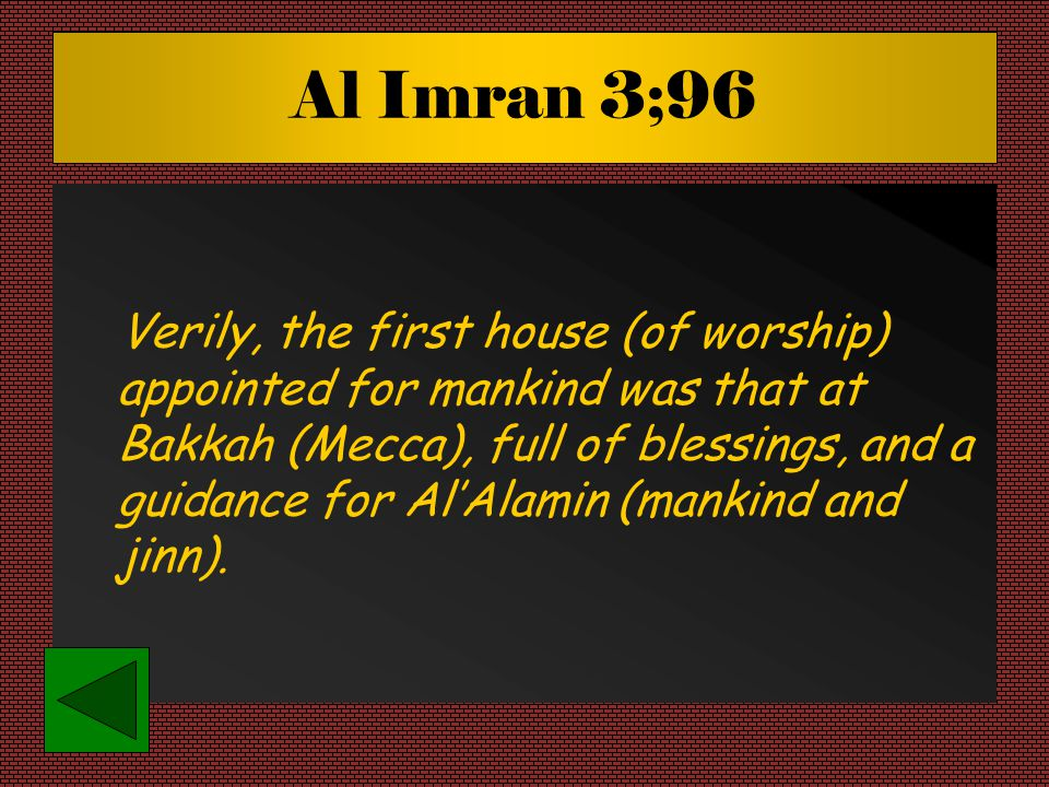 Al Imran 3;96