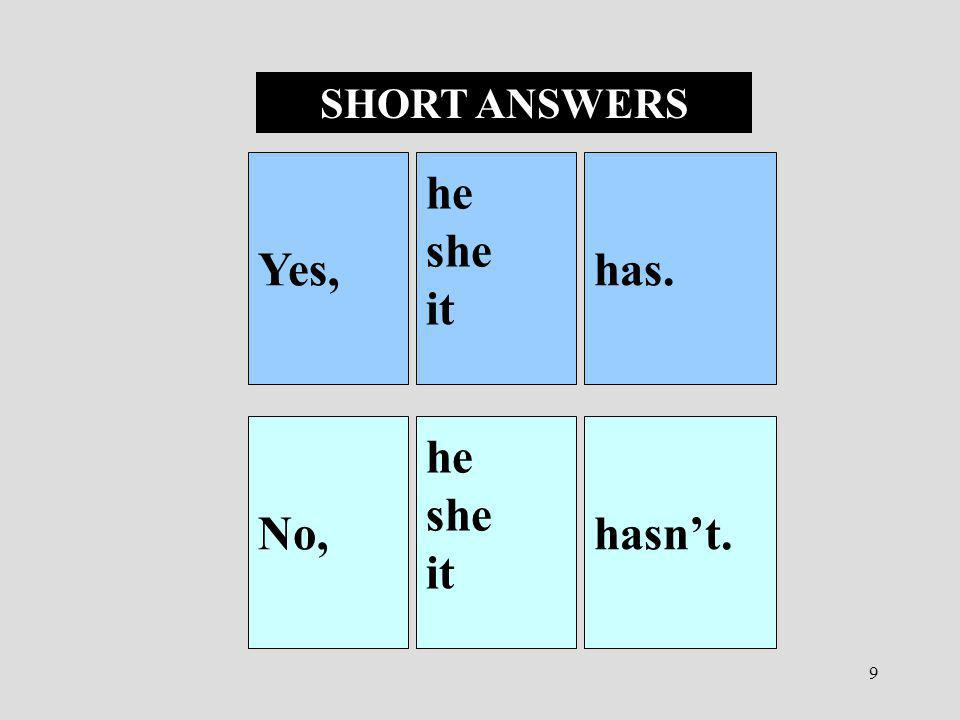 SHORT ANSWERS Yes, he she it has. No, he she it hasn't.