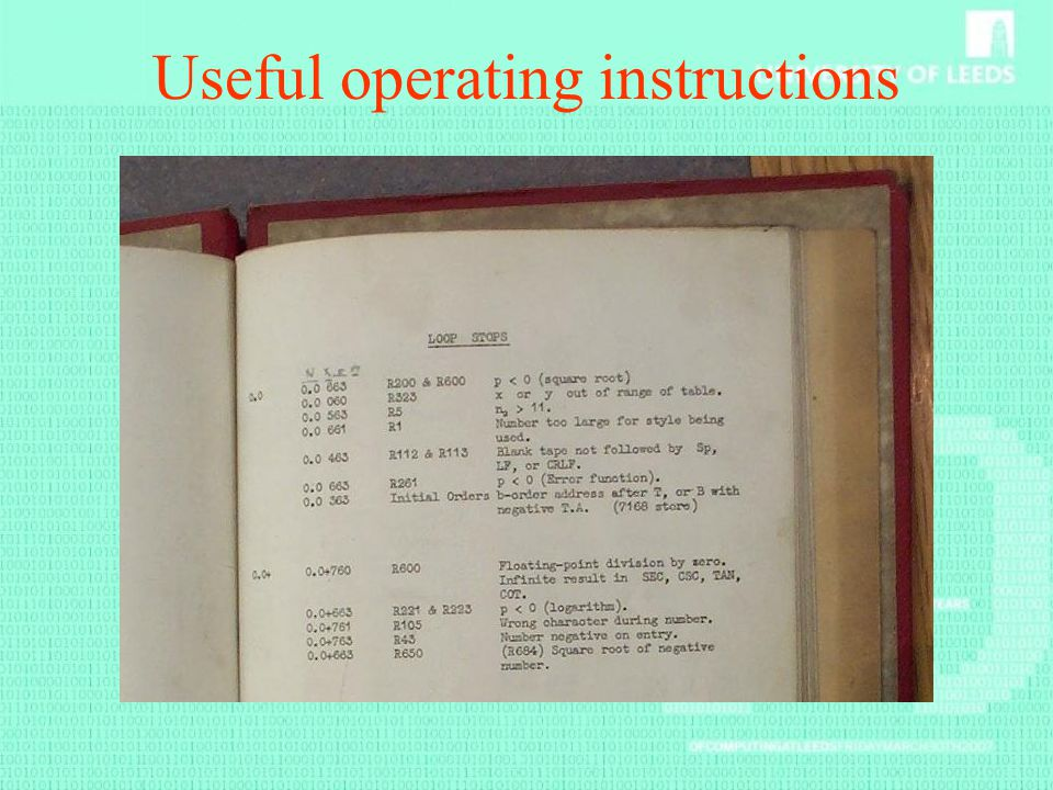 Useful operating instructions