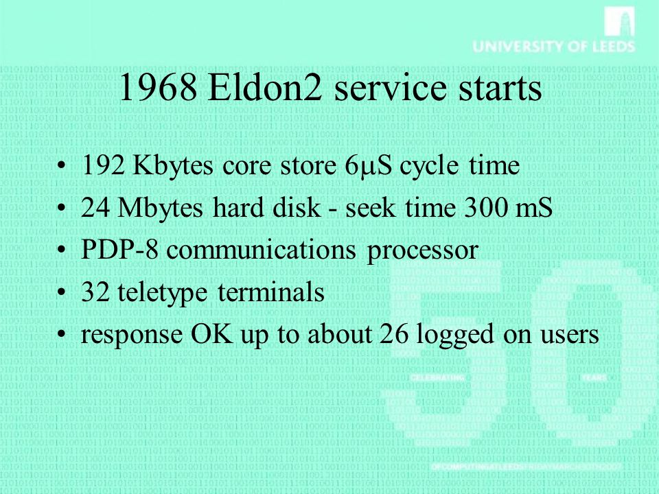 1968 Eldon2 service starts 192 Kbytes core store 6S cycle time