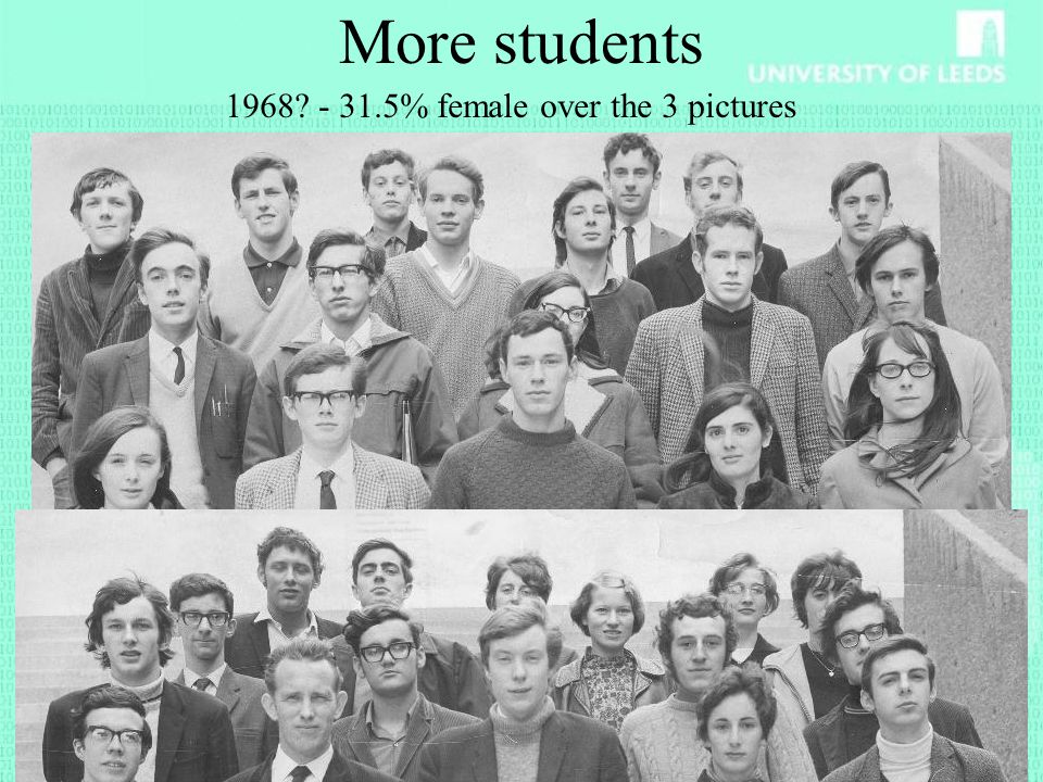 More students 1968 - 31.5% female over the 3 pictures