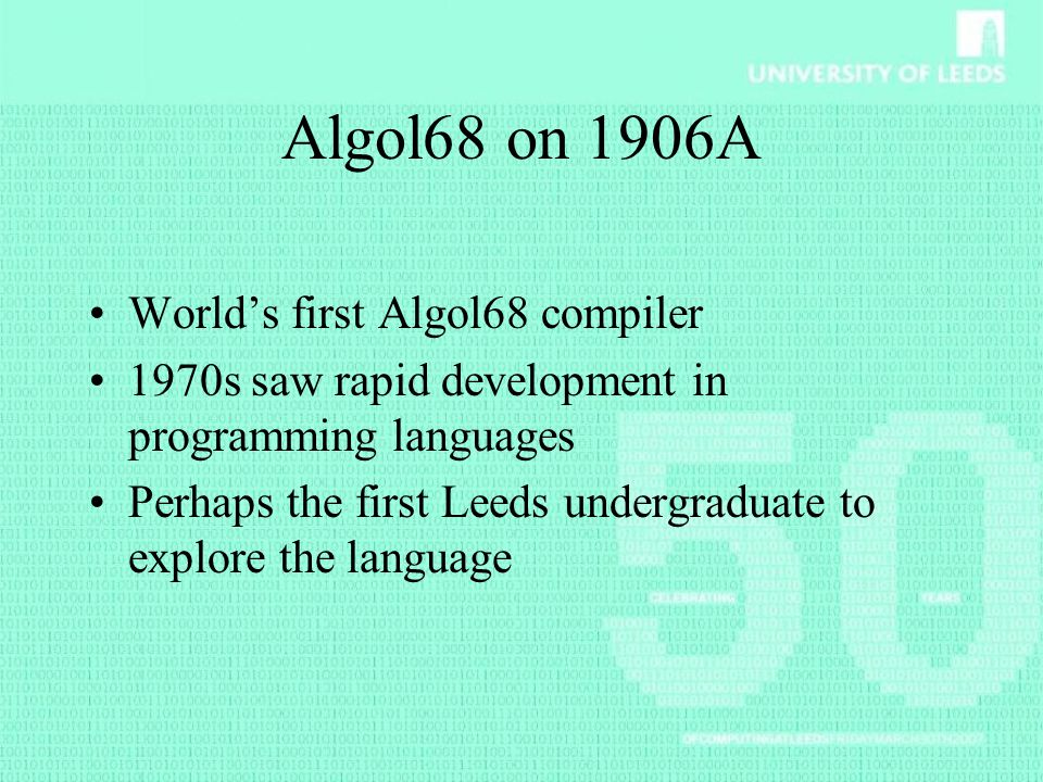 Algol68 on 1906A World's first Algol68 compiler