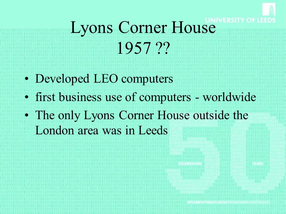Lyons Corner House 1957 Developed LEO computers