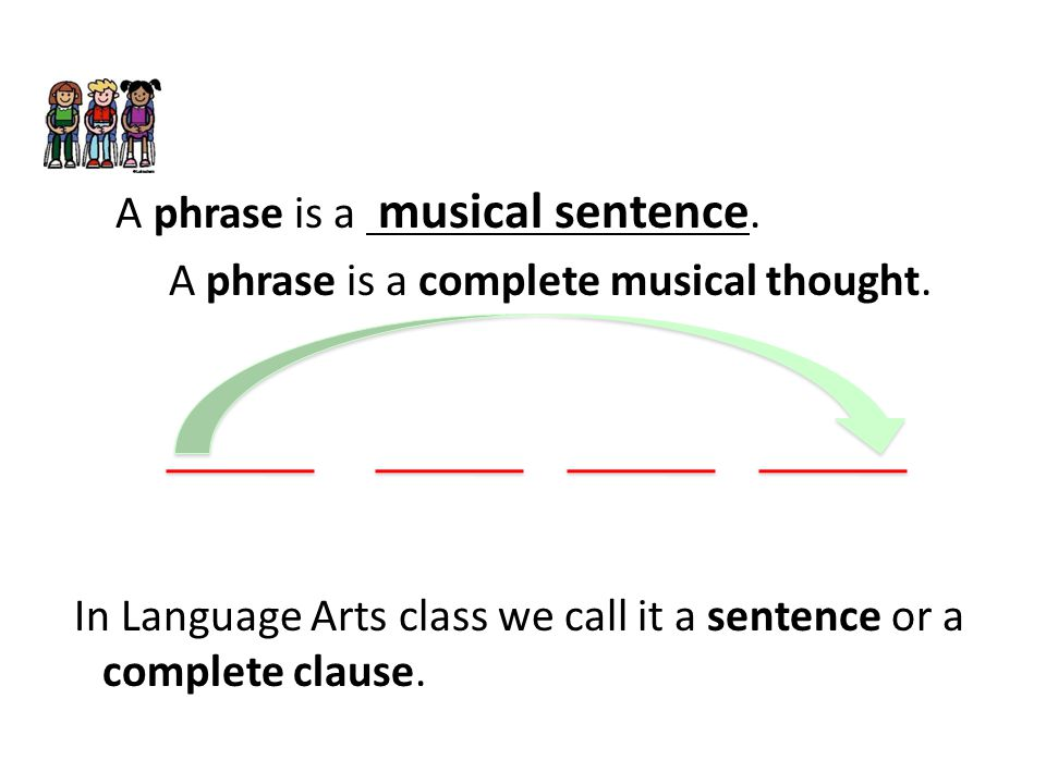 A phrase is a musical sentence. A phrase is a complete musical thought