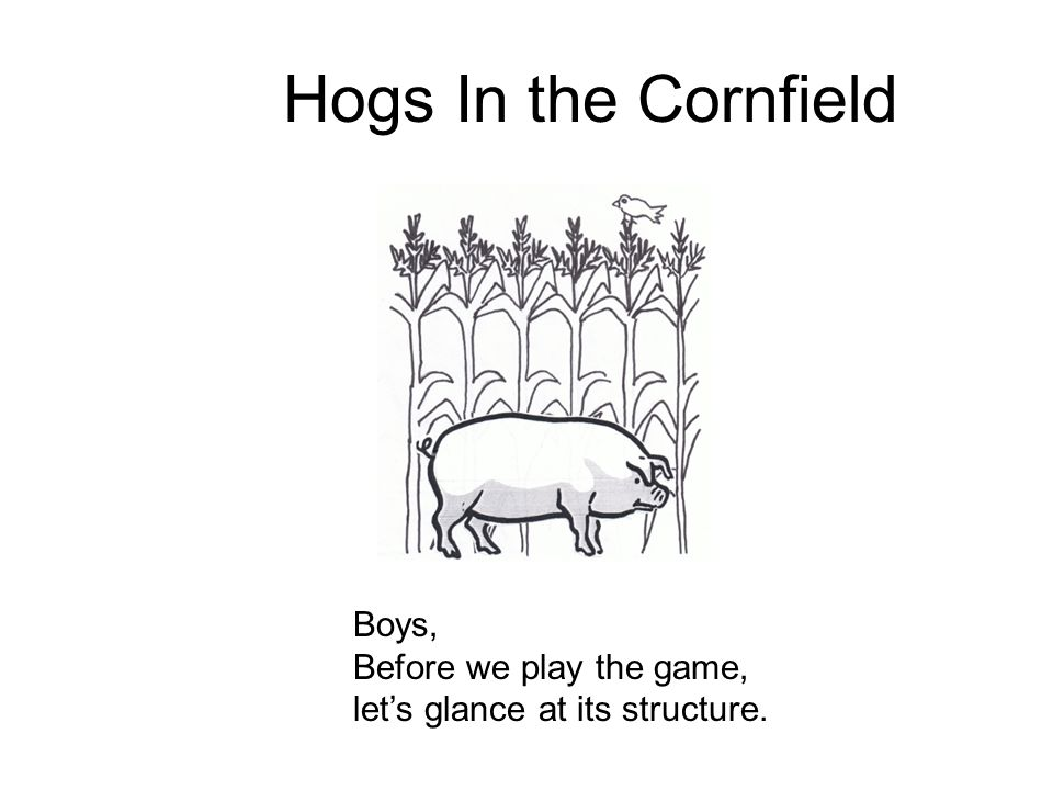 Hogs In the Cornfield Boys, Before we play the game,