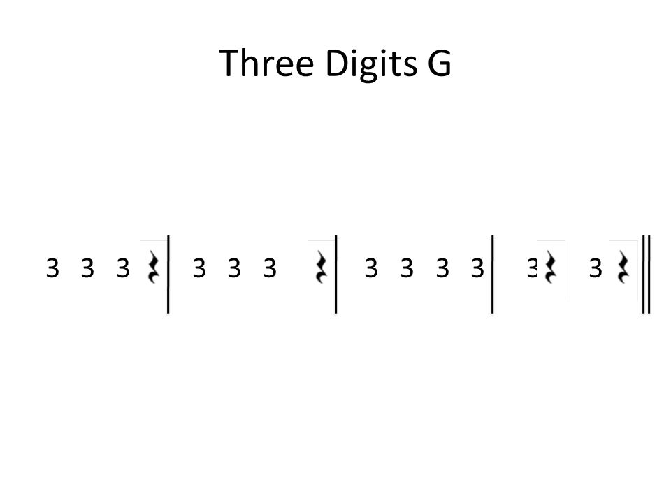 Three Digits G 3 3 3 3 3 3 G 3 3 3 3 3 3