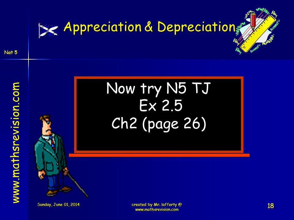 Now try N5 TJ Ex 2.5 Ch2 (page 26) Appreciation & Depreciation