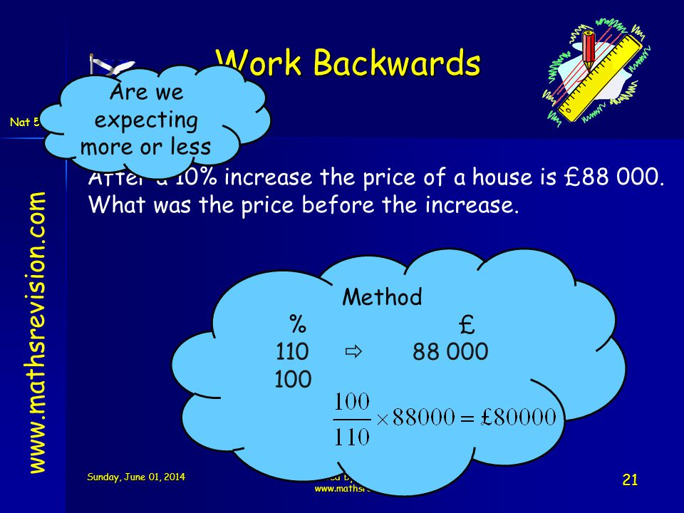 Work Backwards www.mathsrevision.com Are we expecting more or less