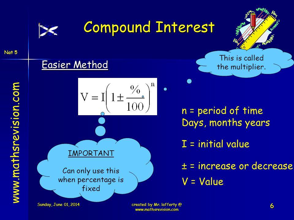 Compound Interest www.mathsrevision.com Easier Method