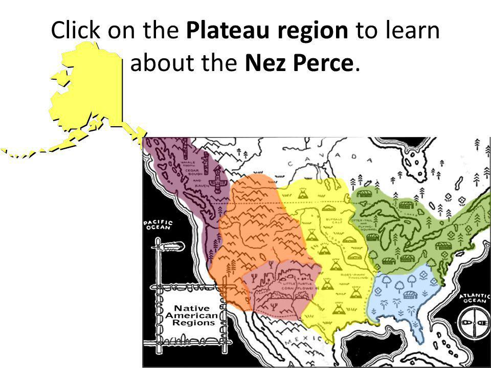 Click on the Plateau region to learn about the Nez Perce.