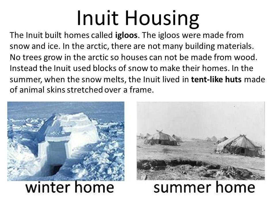 Inuit Housing The Inuit built homes called igloos. The igloos were made from. snow and ice. In the arctic, there are not many building materials.