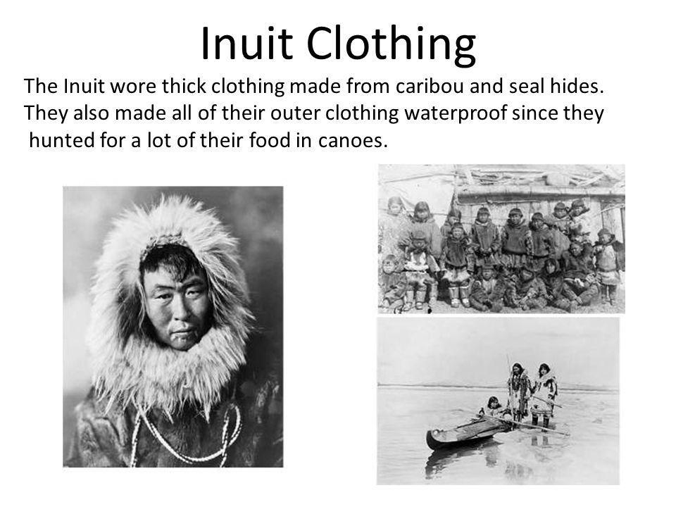 Inuit Clothing The Inuit wore thick clothing made from caribou and seal hides. They also made all of their outer clothing waterproof since they.