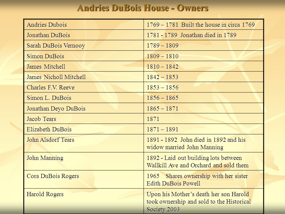 Andries DuBois House - Owners