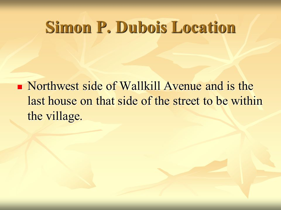 Simon P. Dubois Location