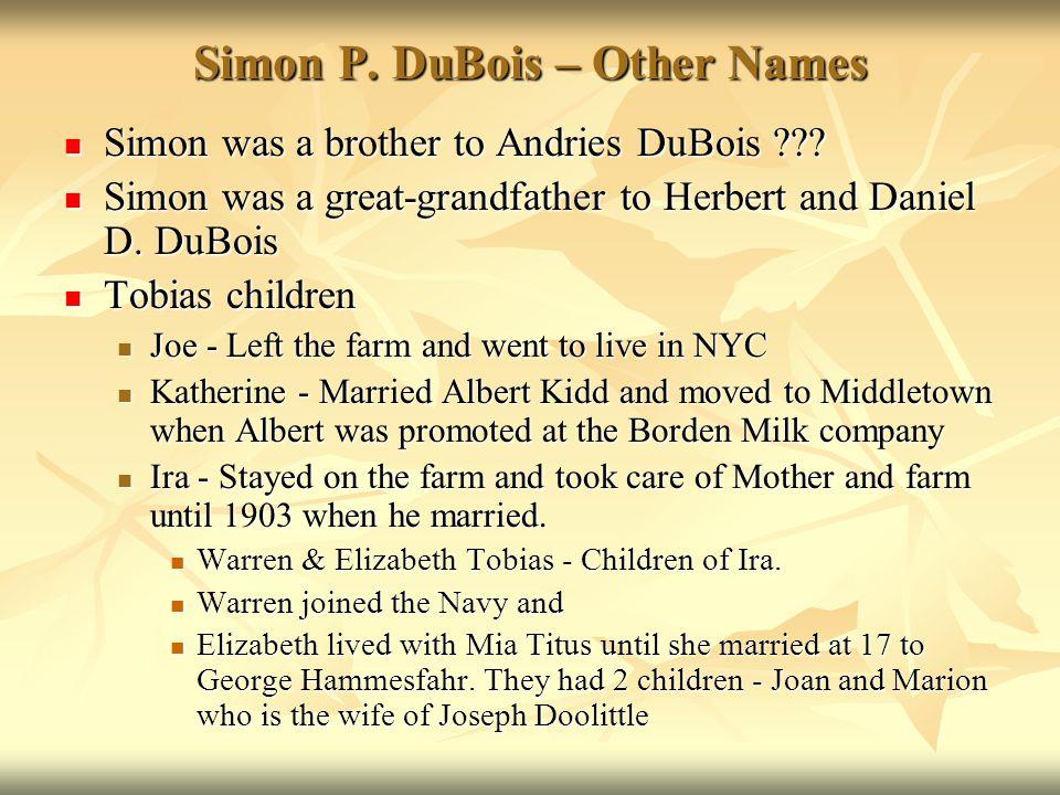 Simon P. DuBois – Other Names