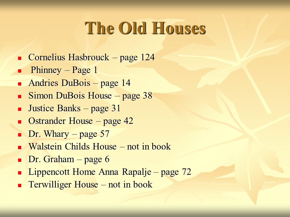 The Old Houses Cornelius Hasbrouck – page 124 Phinney – Page 1