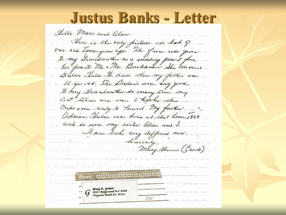 Justus Banks - Letter