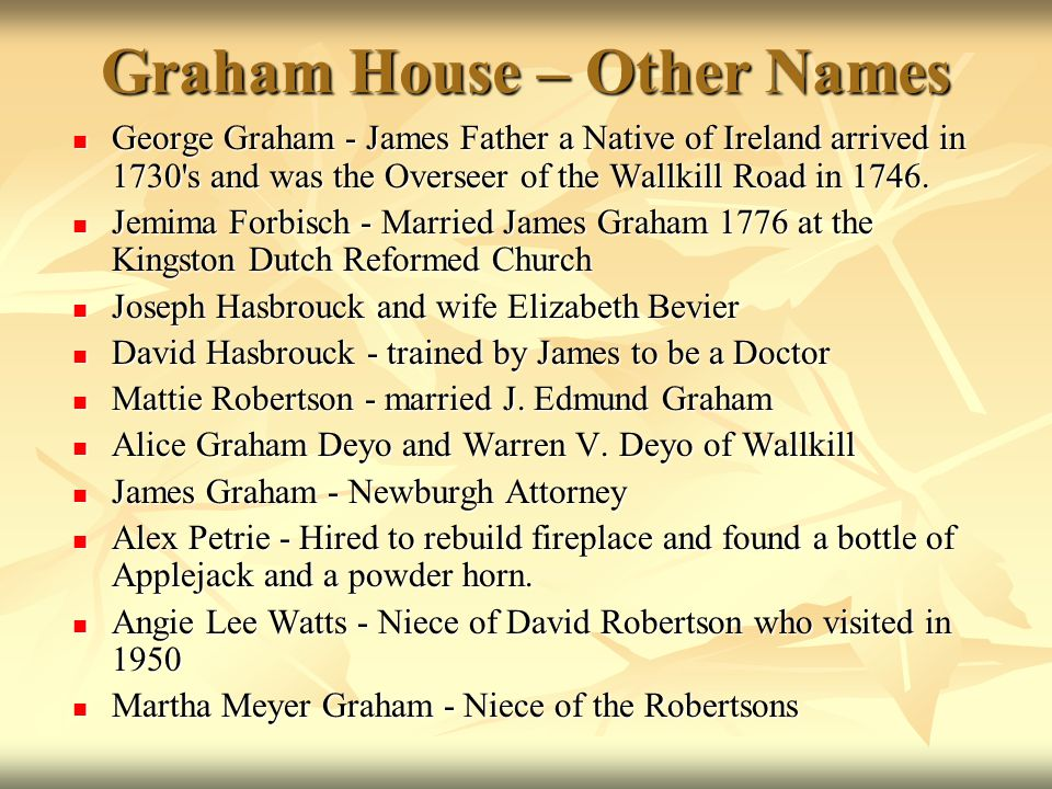 Graham House – Other Names
