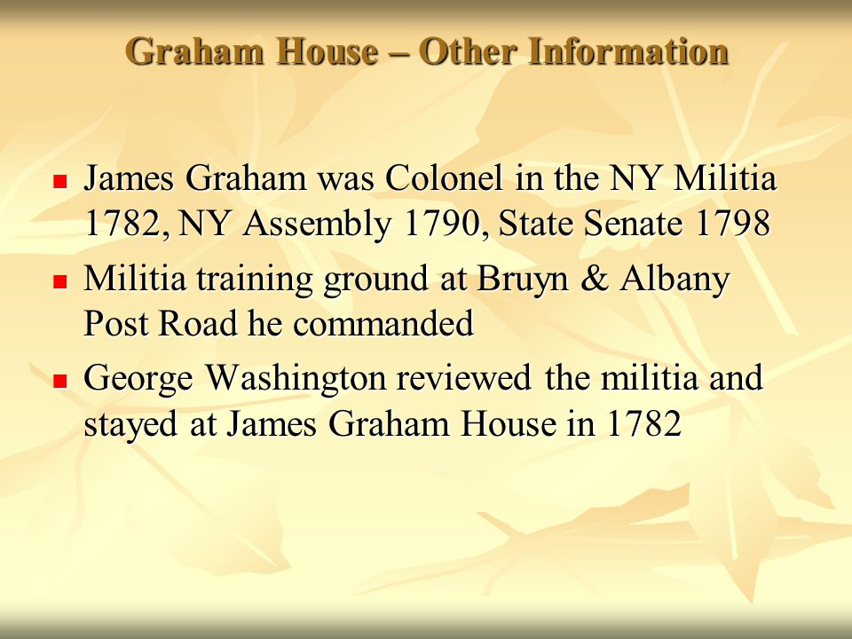 Graham House – Other Information