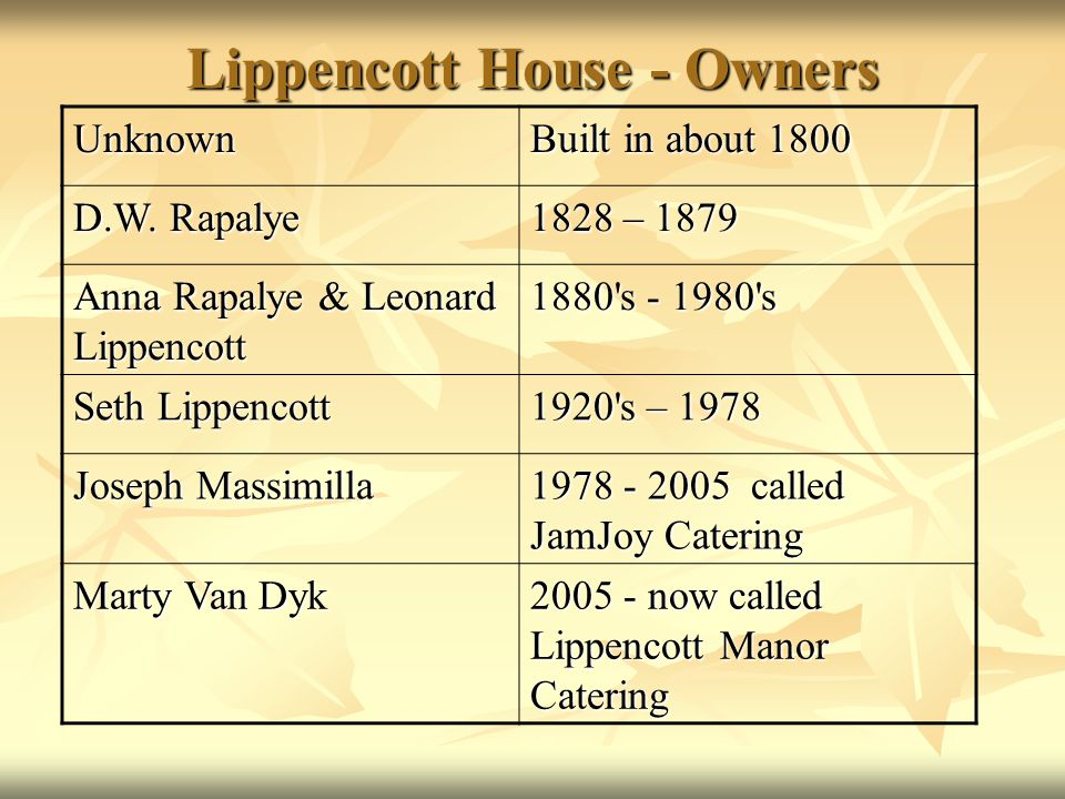 Lippencott House - Owners