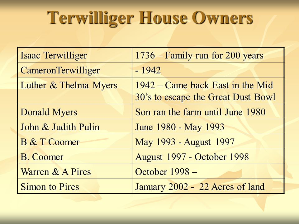 Terwilliger House Owners