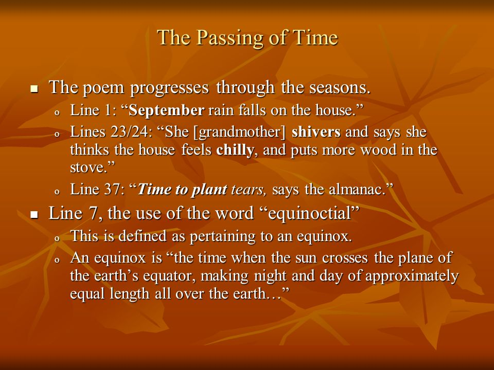 The Passing of Time The poem progresses through the seasons.