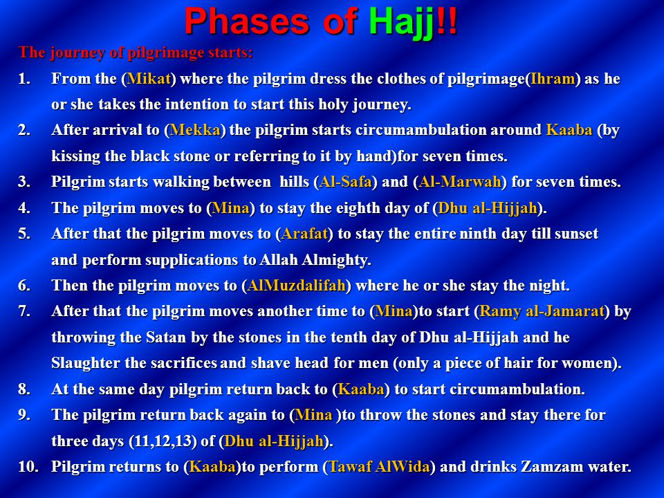 Phases of Hajj!! The journey of pilgrimage starts: