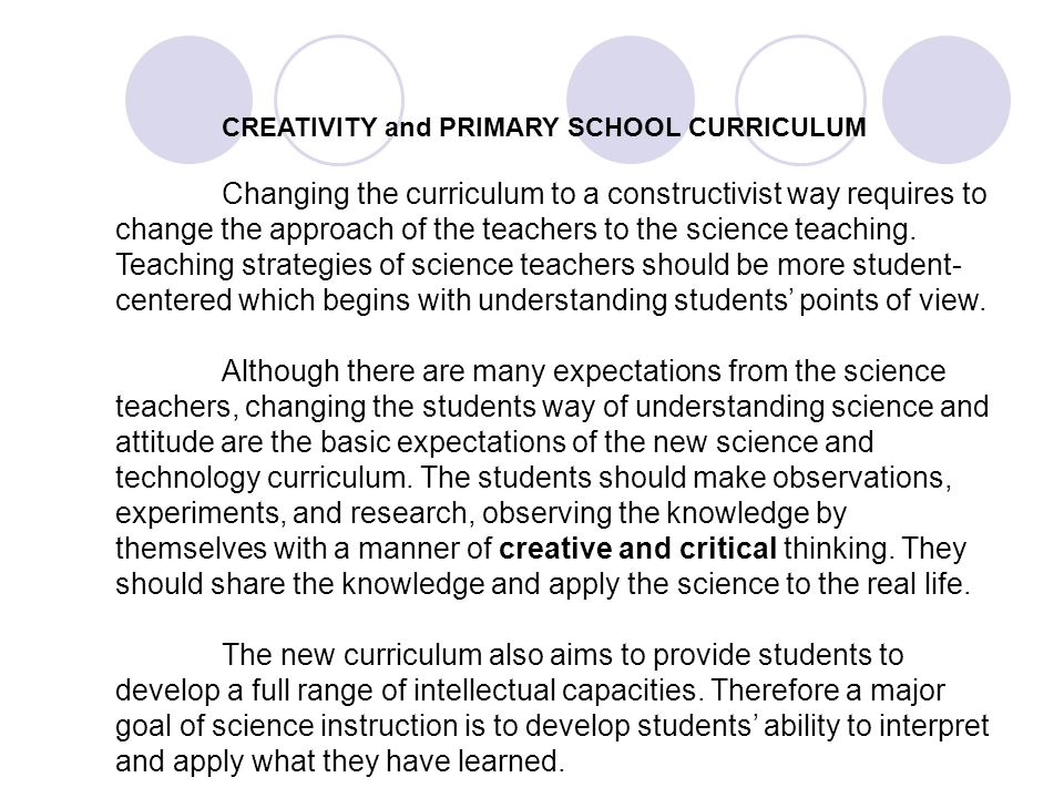 CREATIVITY and PRIMARY SCHOOL CURRICULUM