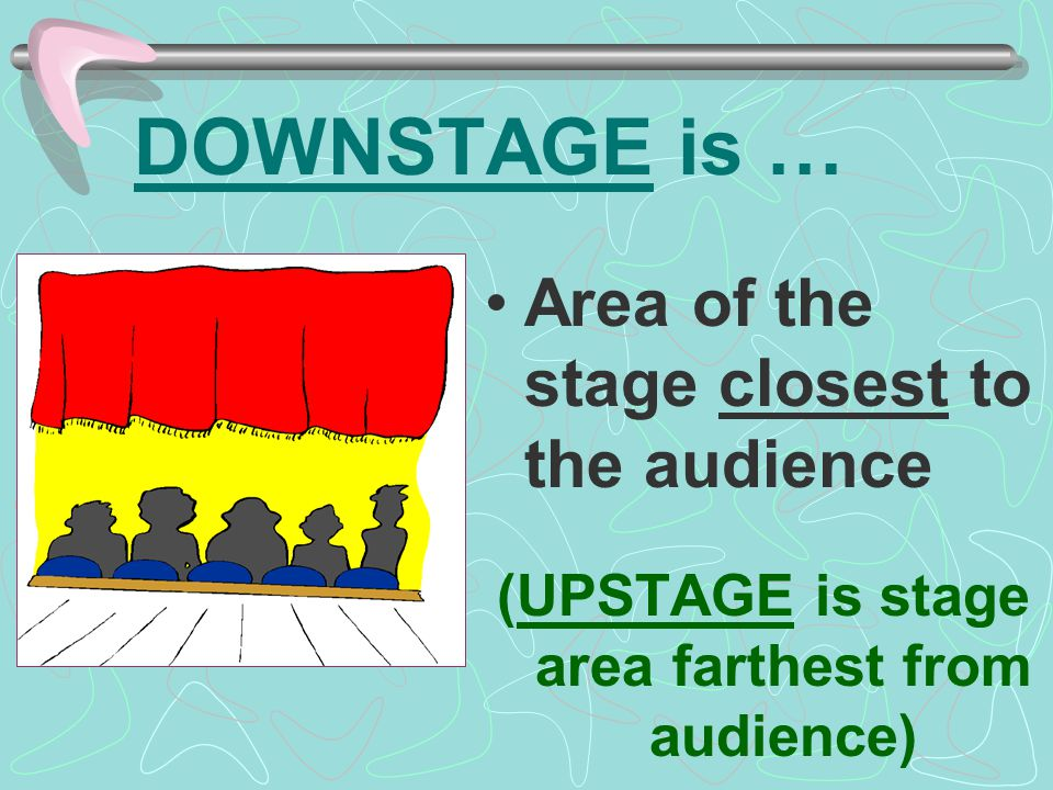 (UPSTAGE is stage area farthest from audience)