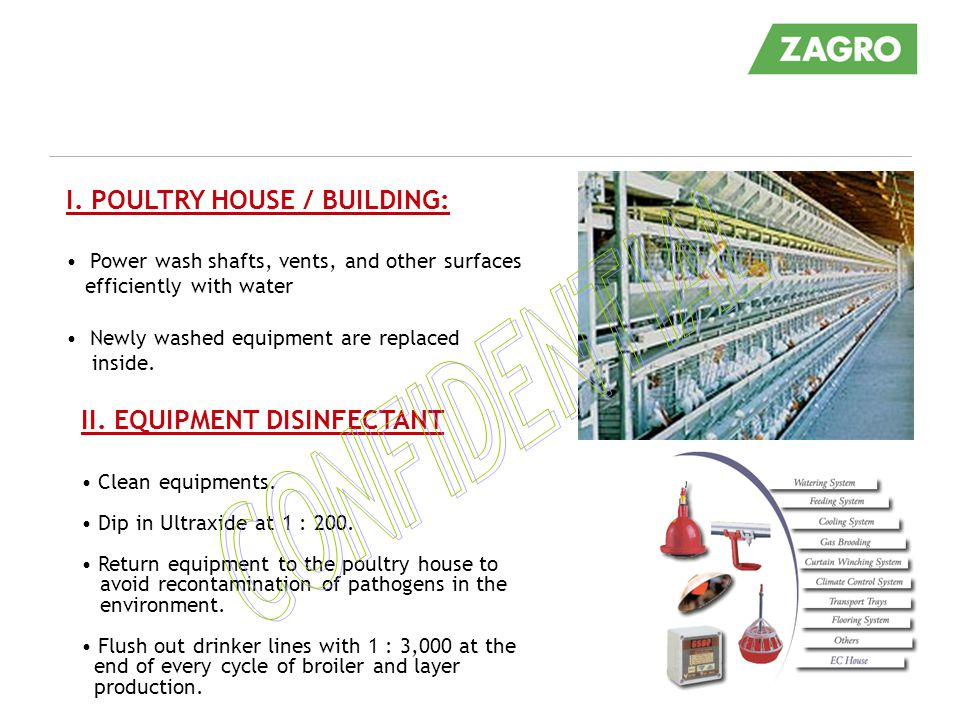 CONFIDENTIAL I. POULTRY HOUSE / BUILDING: II. EQUIPMENT DISINFECTANT