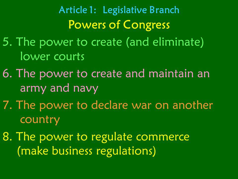 Article 1: Legislative Branch