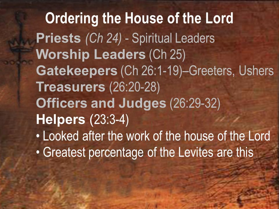 Ordering the House of the Lord