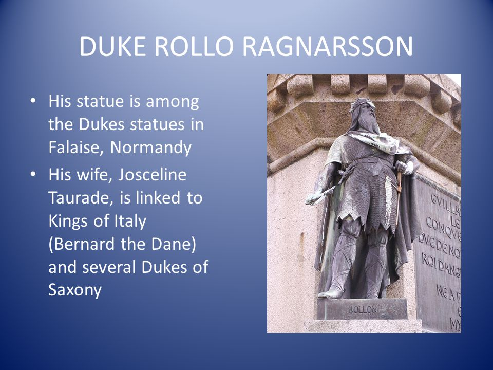 DUKE ROLLO RAGNARSSON His statue is among the Dukes statues in Falaise, Normandy.