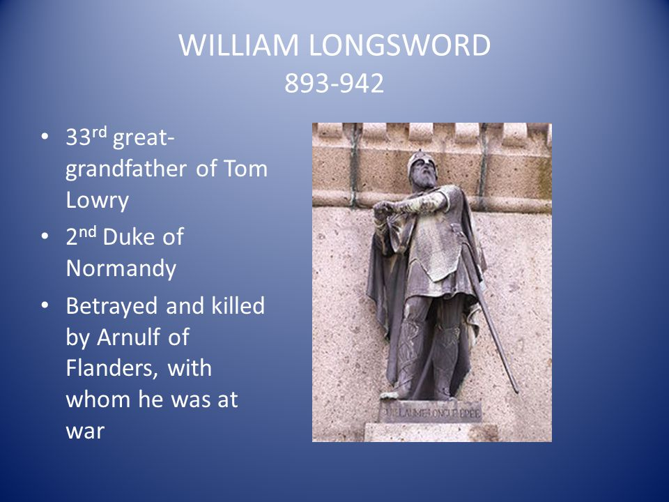 WILLIAM LONGSWORD 893-942 33rd great-grandfather of Tom Lowry
