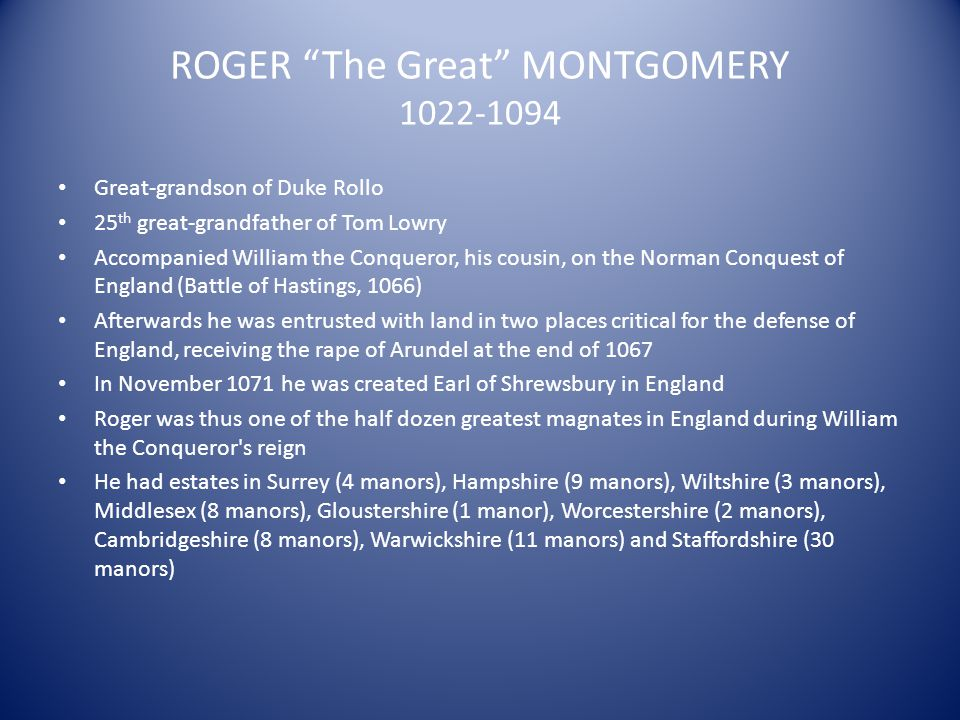 ROGER The Great MONTGOMERY 1022-1094