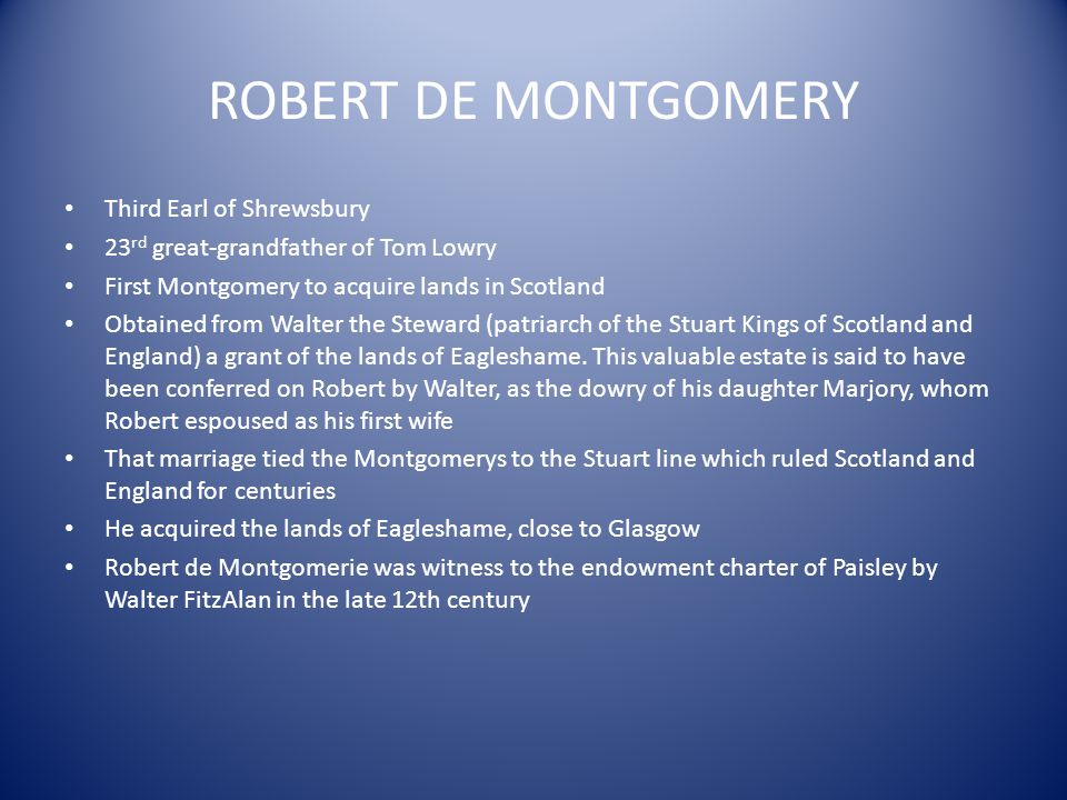 ROBERT DE MONTGOMERY Third Earl of Shrewsbury