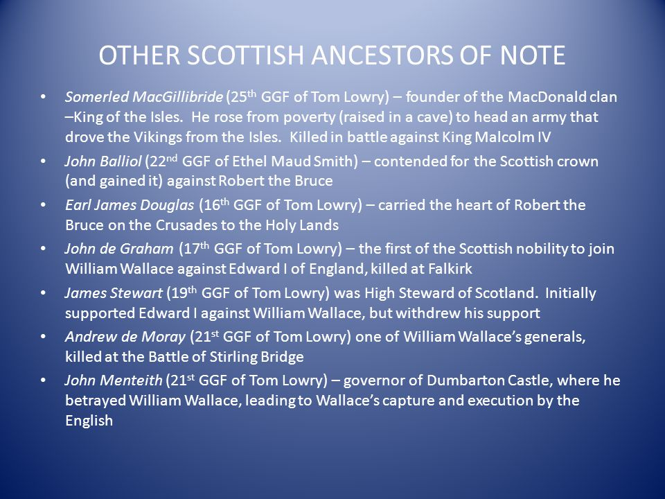 OTHER SCOTTISH ANCESTORS OF NOTE
