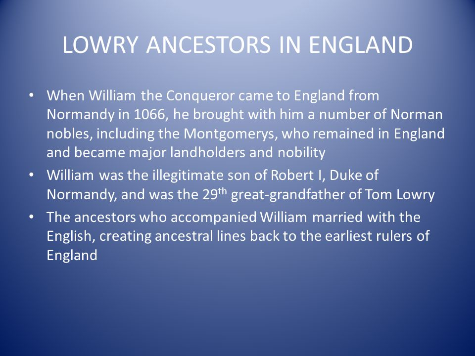 LOWRY ANCESTORS IN ENGLAND