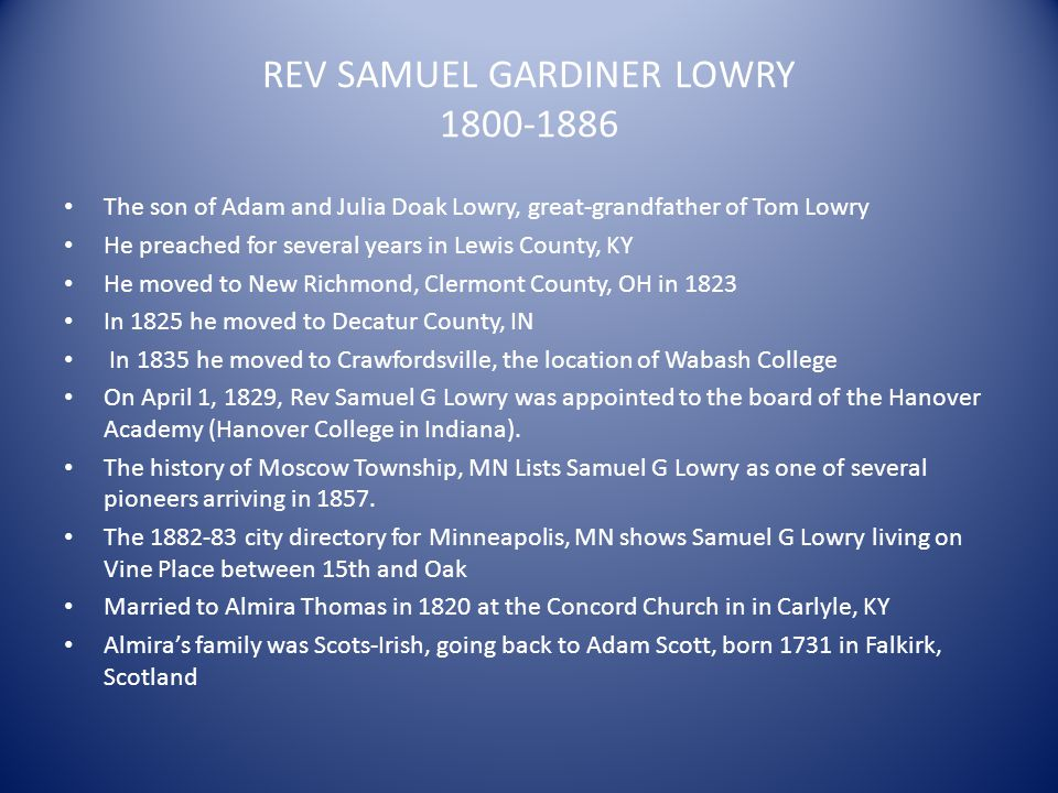 REV SAMUEL GARDINER LOWRY 1800-1886