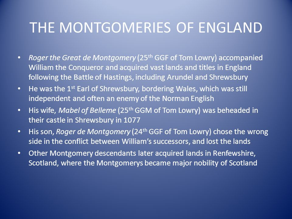 THE MONTGOMERIES OF ENGLAND