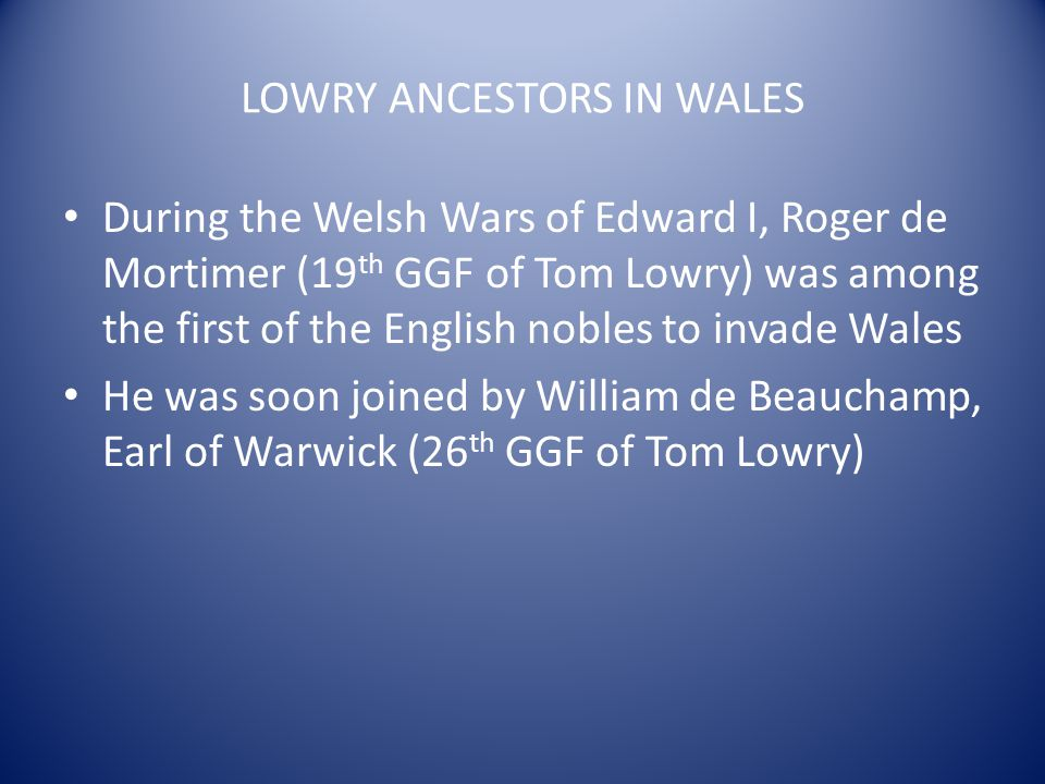 LOWRY ANCESTORS IN WALES