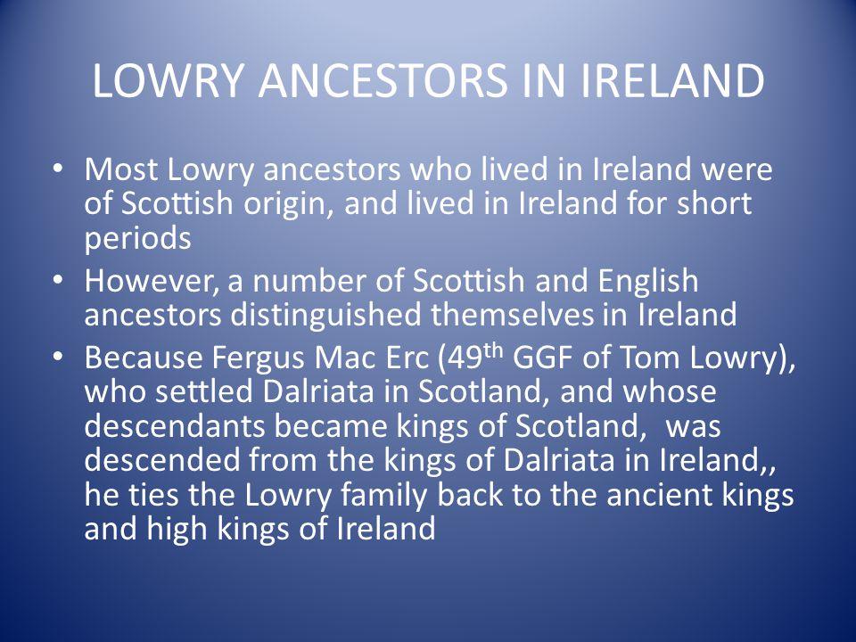 LOWRY ANCESTORS IN IRELAND